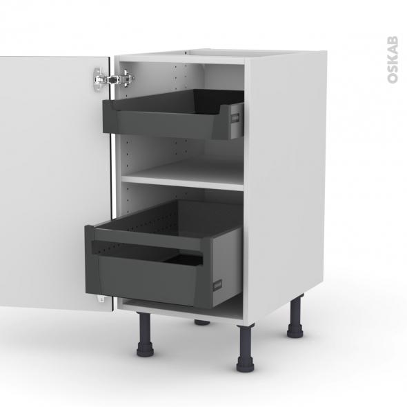 Meuble de cuisine - Bas - KERIA Noir - 2 tiroirs à l'anglaise - L40 x H70 x P58 cm