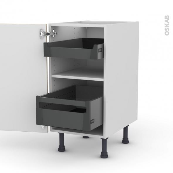 Meuble de cuisine - Bas - STILO Noyer Blanchi - 2 tiroirs à l'anglaise - L40 x H70 x P58 cm