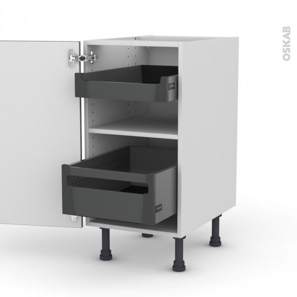 Meuble de cuisine - Bas - STILO Noyer Naturel - 2 tiroirs à l'anglaise - L40 x H70 x P58 cm