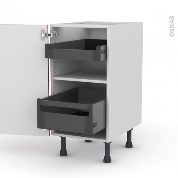 GINKO Rouge - Meuble bas - 2 tiroirs à l'anglaise - L40xH70xP58