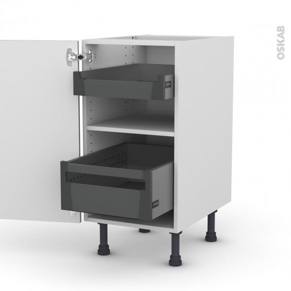 Meuble de cuisine - Bas - GINKO Taupe - 2 tiroirs à l'anglaise - L40 x H70 x P58 cm