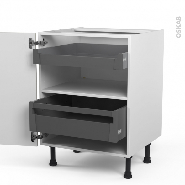 SILEN Argile - Meuble bas - 2 tiroirs à l'anglaise - L60xH70xP58 - droite