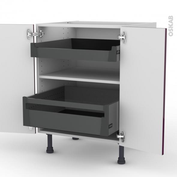 Meuble de cuisine - Bas - KERIA Aubergine - 2 tiroirs à l'anglaise - L60 x H70 x P58 cm