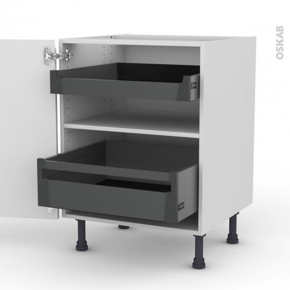 Meuble de cuisine - Bas - IPOMA Blanc brillant - 2 tiroirs à l'anglaise - L60 x H70 x P58 cm