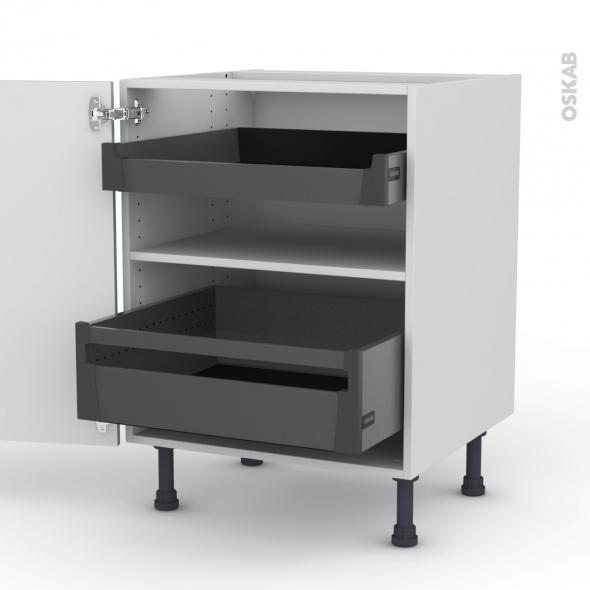 Meuble de cuisine - Bas - KERIA Bleu - 2 tiroirs à l'anglaise - L60 x H70 x P58 cm