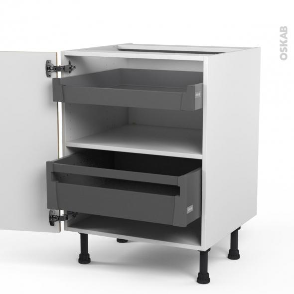 Meuble de cuisine - Bas - HOSTA Chêne naturel - 2 tiroirs à l'anglaise - L60 x H70 x P58 cm