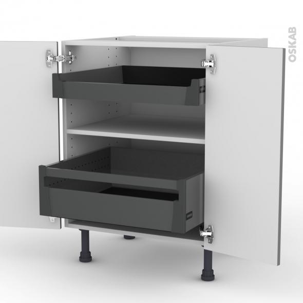 Meuble de cuisine - Bas - FILIPEN Gris - 2 tiroirs à l'anglaise - L60 x H70 x P58 cm