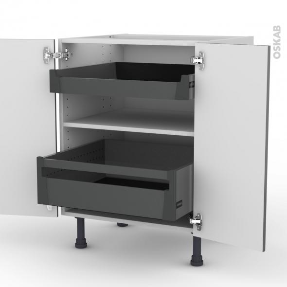 Meuble de cuisine - Bas - STECIA Gris - 2 tiroirs à l'anglaise - L60 x H70 x P58 cm