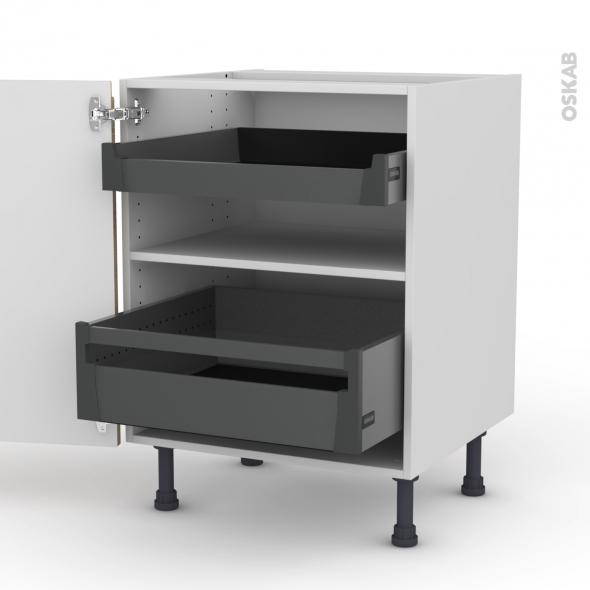 Meuble de cuisine - Bas - IPOMA Chêne naturel - 2 tiroirs à l'anglaise - L60 x H70 x P58 cm