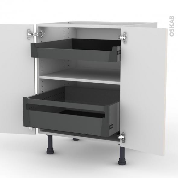 Meuble de cuisine - Bas - FILIPEN Ivoire - 2 tiroirs à l'anglaise - L60 x H70 x P58 cm