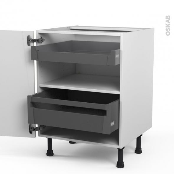 SILEN Ivoire - Meuble bas - 2 tiroirs à l'anglaise - L60xH70xP58 - droite
