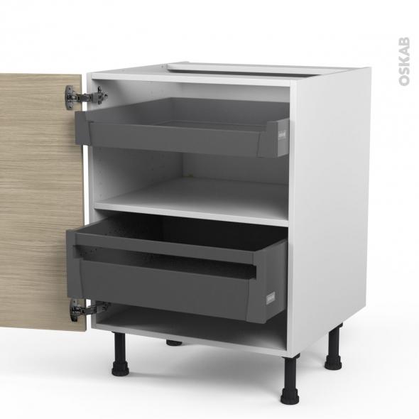 STILO Noyer Blanchi - Meuble bas - 2 tiroirs à l'anglaise - L60xH70xP58