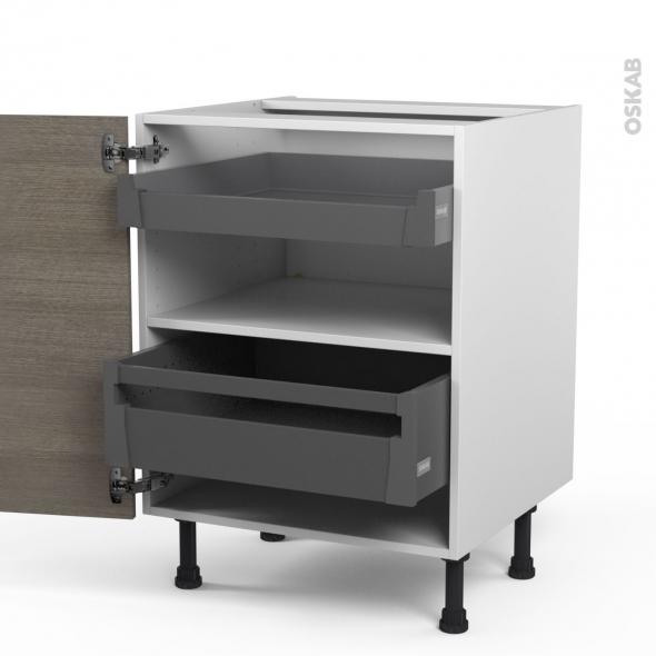 Meuble de cuisine - Bas - STILO Noyer Naturel - 2 tiroirs à l'anglaise - L60 x H70 x P58 cm