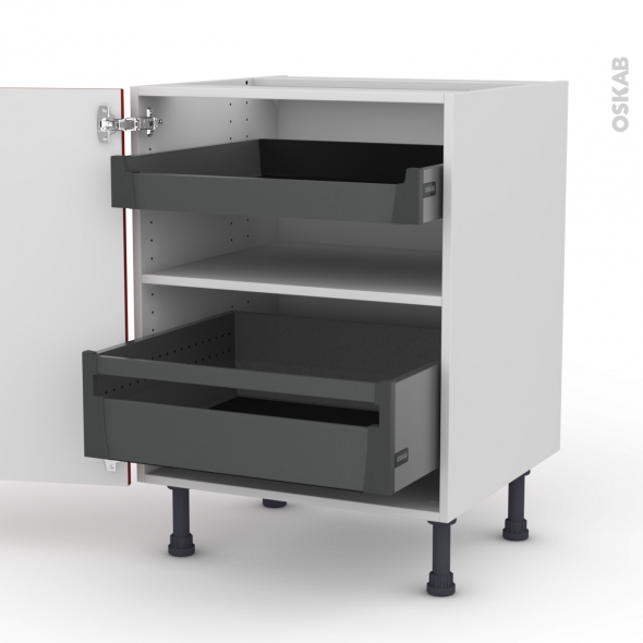 GINKO Rouge - Meuble bas - 2 tiroirs à l'anglaise - L60xH70xP58