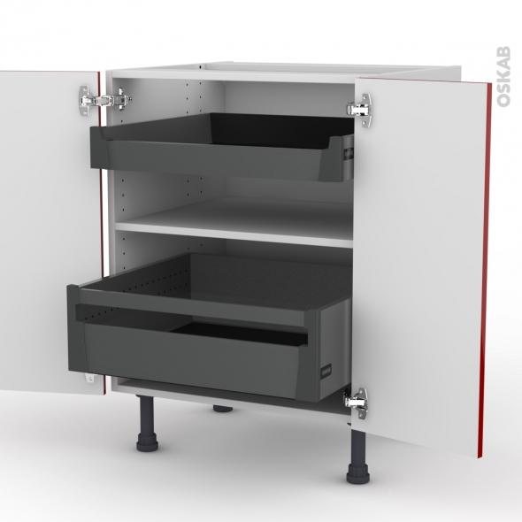 Meuble de cuisine - Bas - STECIA Rouge - 2 tiroirs à l'anglaise - L60 x H70 x P58 cm