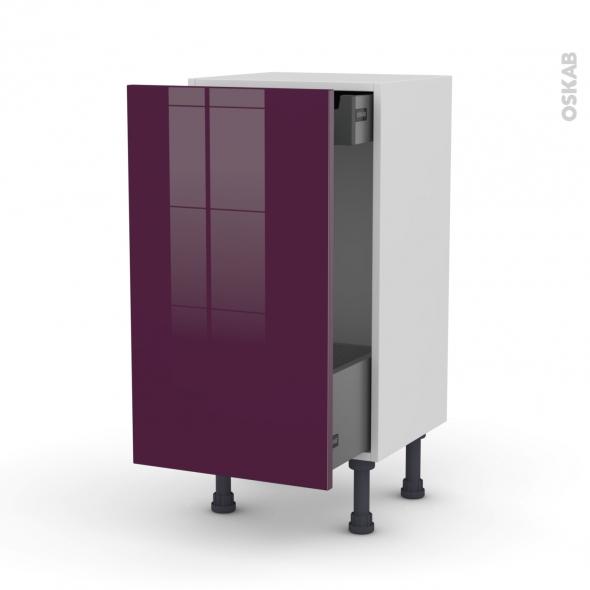 Meuble de cuisine - Bas coulissant - KERIA Aubergine - 1 porte 1 tiroir à l'anglaise - L40 x H70 x P37 cm