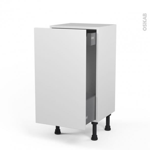 Meuble de cuisine - Bas coulissant - GINKO Blanc - 1 porte 1 tiroir à l'anglaise - L40 x H70 x P37 cm