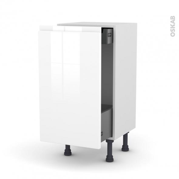 Meuble de cuisine - Bas coulissant - IPOMA Blanc - 1 porte 1 tiroir à l'anglaise - L40 x H70 x P37 cm