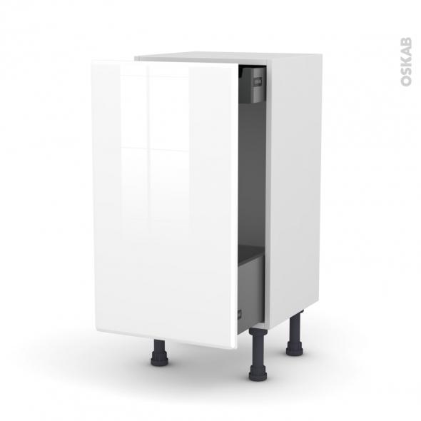 Meuble de cuisine - Bas coulissant - IRIS Blanc - 1 porte 1 tiroir à l'anglaise - L40 x H70 x P37 cm