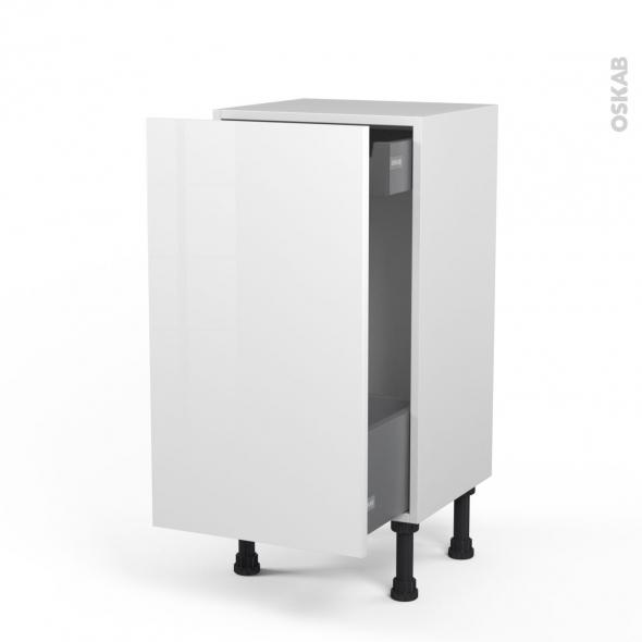 STECIA Blanc - Meuble bas coulissant - 1 porte-1 tiroir anglaise - L40xH70xP37