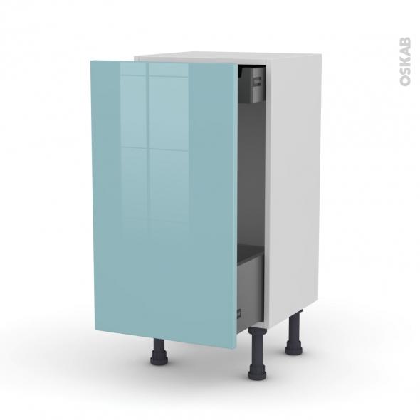 Meuble de cuisine - Bas coulissant - KERIA Bleu - 1 porte 1 tiroir à l'anglaise - L40 x H70 x P37 cm