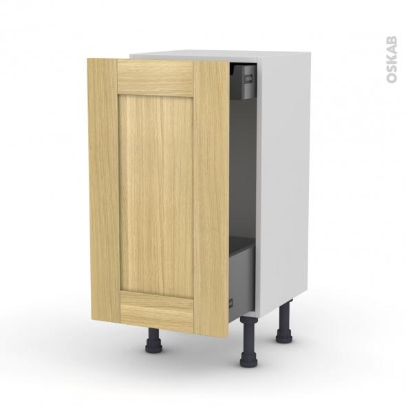 BASILIT Bois brut - Meuble bas coulissant - 1 porte-1 tiroir anglaise - L40xH70xP37