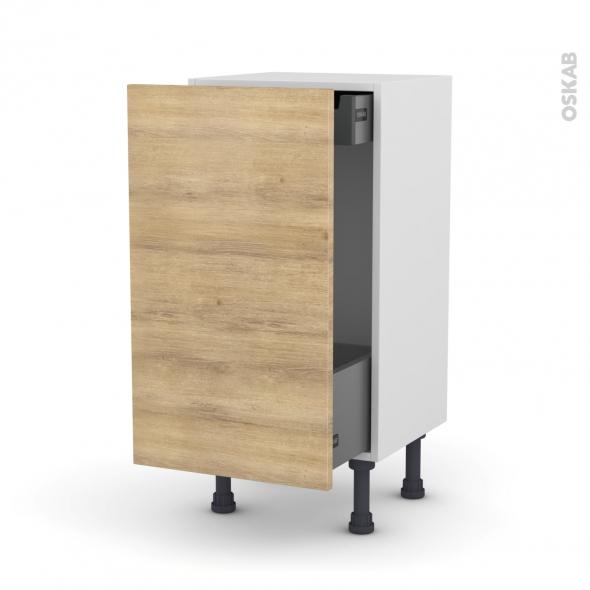 Meuble de cuisine - Bas coulissant - HOSTA Chêne naturel - 1 porte 1 tiroir à l'anglaise - L40 x H70 x P37 cm