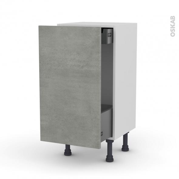 Meuble de cuisine - Bas coulissant - FAKTO Béton - 1 porte 1 tiroir à l'anglaise - L40 x H70 x P37 cm