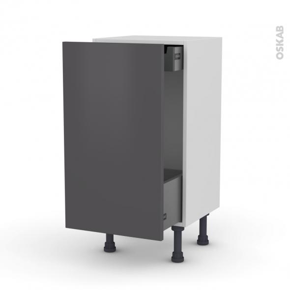 Meuble de cuisine - Bas coulissant - GINKO Gris - 1 porte 1 tiroir à l'anglaise - L40 x H70 x P37 cm