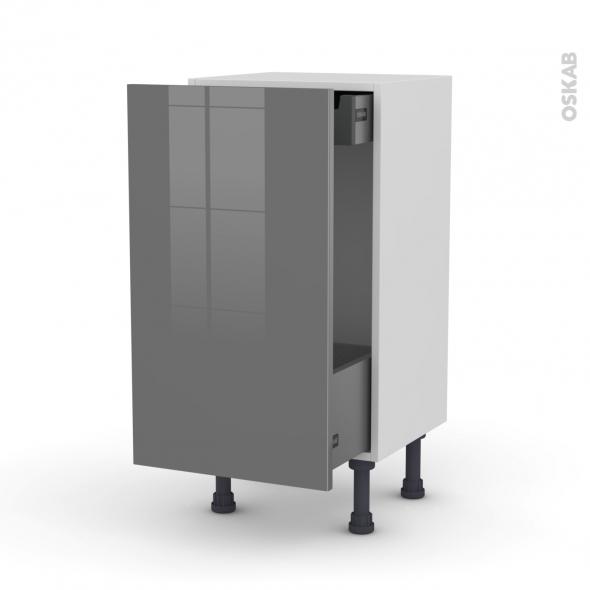 Meuble de cuisine - Bas coulissant - STECIA Gris - 1 porte 1 tiroir à l'anglaise - L40 x H70 x P37 cm