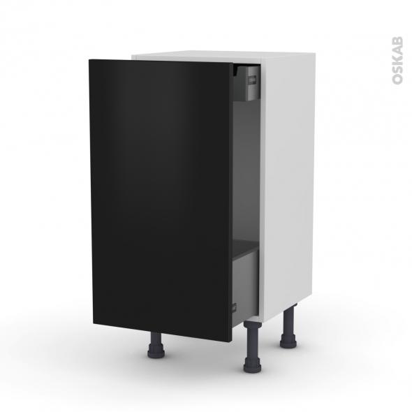 Meuble de cuisine - Bas coulissant - GINKO Noir - 1 porte 1 tiroir à l'anglaise - L40 x H70 x P37 cm