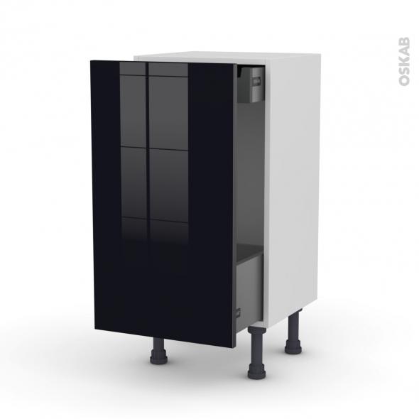 Meuble de cuisine - Bas coulissant - KERIA Noir - 1 porte 1 tiroir à l'anglaise - L40 x H70 x P37 cm