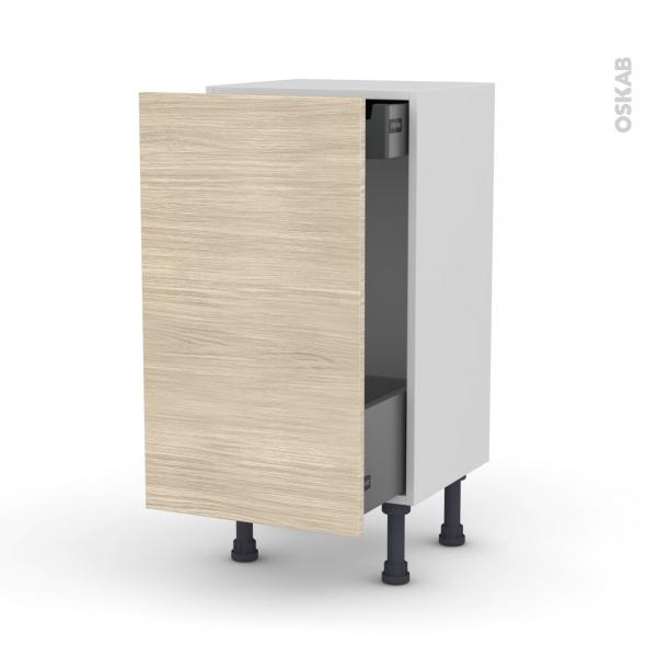 Meuble de cuisine - Bas coulissant - STILO Noyer Blanchi - 1 porte 1 tiroir à l'anglaise - L40 x H70 x P37 cm