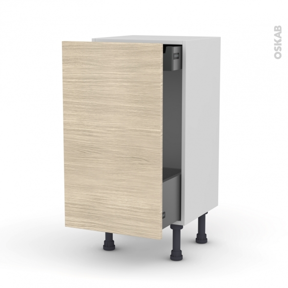 STILO Noyer blanchi - Meuble bas coulissant - 1 porte-1 tiroir anglaise - L40xH70xP37