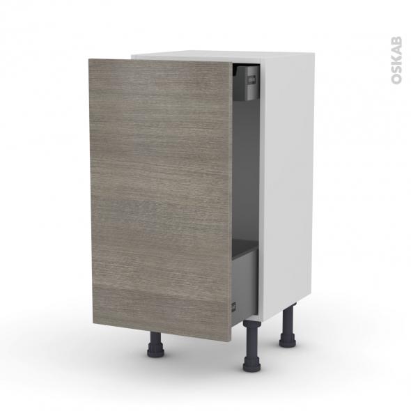 Meuble de cuisine - Bas coulissant - STILO Noyer Naturel - 1 porte 1 tiroir à l'anglaise - L40 x H70 x P37 cm
