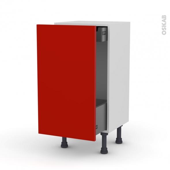GINKO Rouge - Meuble bas coulissant - 1 porte-1 tiroir anglaise - L40xH70xP37
