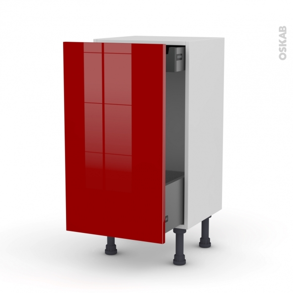 Meuble de cuisine - Bas coulissant - STECIA Rouge - 1 porte 1 tiroir à l'anglaise - L40 x H70 x P37 cm