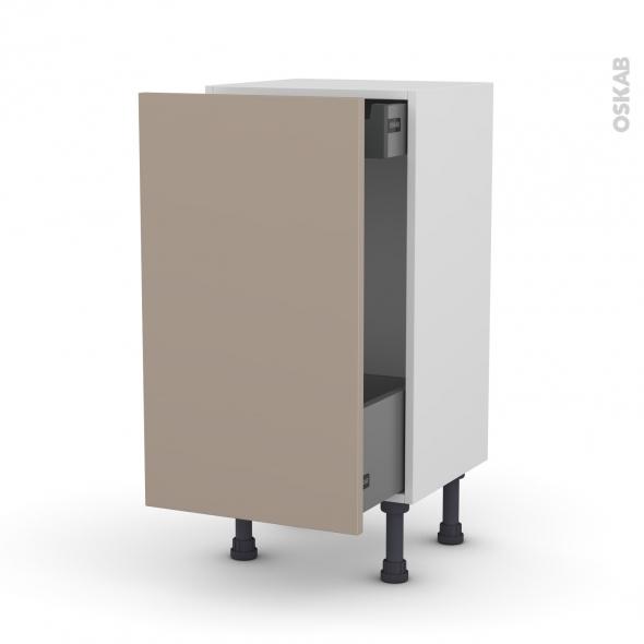 Meuble de cuisine - Bas coulissant - GINKO Taupe - 1 porte 1 tiroir à l'anglaise - L40 x H70 x P37 cm