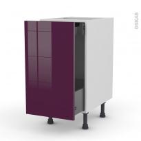 Meuble de cuisine - Bas coulissant - KERIA Aubergine - 1 porte 1 tiroir à l'anglaise - L40 x H70 x P58 cm