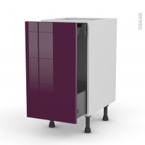 KERIA Aubergine - Meuble bas coulissant  - 1 porte-1 tiroir anglaise - L40xH70xP58