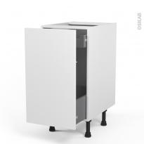 Meuble de cuisine - Bas coulissant - GINKO Blanc - 1 porte 1 tiroir à l'anglaise - L40 x H70 x P58 cm