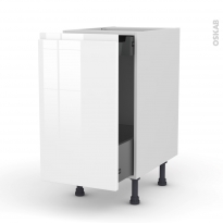 Meuble de cuisine - Bas coulissant - IPOMA Blanc - 1 porte 1 tiroir à l'anglaise - L40 x H70 x P58 cm