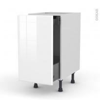 Meuble de cuisine - Bas coulissant - IRIS Blanc - 1 porte 1 tiroir à l'anglaise - L40 x H70 x P58 cm