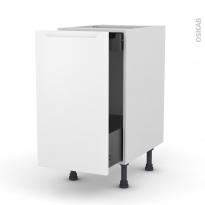 Meuble de cuisine - Bas coulissant - PIMA Blanc - 1 porte 1 tiroir à l'anglaise - L40 x H70 x P58 cm
