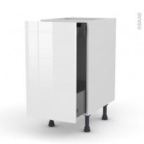 Meuble de cuisine - Bas coulissant - STECIA Blanc - 1 porte 1 tiroir à l'anglaise - L40 x H70 x P58 cm