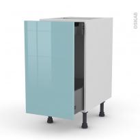 Meuble de cuisine - Bas coulissant - KERIA Bleu - 1 porte 1 tiroir à l'anglaise - L40 x H70 x P58 cm