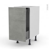 Meuble de cuisine - Bas coulissant - FAKTO Béton - 1 porte 1 tiroir à l'anglaise - L40 x H70 x P58 cm