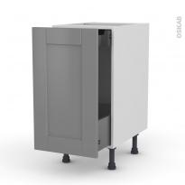Meuble de cuisine - Bas coulissant - FILIPEN Gris - 1 porte 1 tiroir à l'anglaise - L40 x H70 x P58 cm