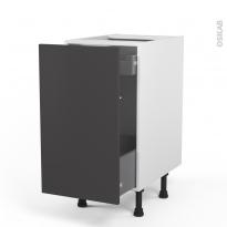 Meuble de cuisine - Bas coulissant - GINKO Gris - 1 porte 1 tiroir à l'anglaise - L40 x H70 x P58 cm
