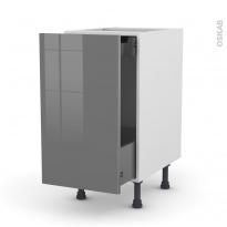 Meuble de cuisine - Bas coulissant - STECIA Gris - 1 porte 1 tiroir à l'anglaise - L40 x H70 x P58 cm